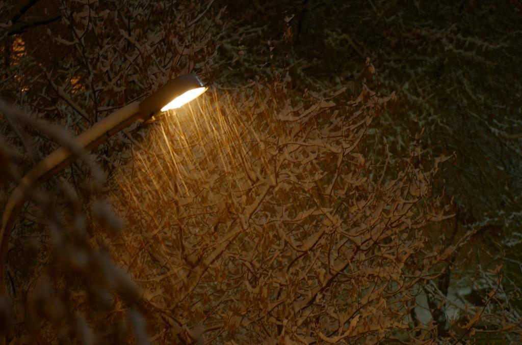 Ночь. Улица. Фонарь. Погода